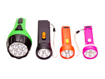 Four differently colored LED flashlight Stock Photos