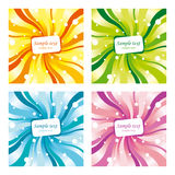 Four differently coloured backgrounds. Set of four differently coloured backgrounds (vector) with frames for text Royalty Free Stock Photos
