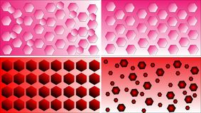 Four differentred, pink and white polygon pattern background vectors Royalty Free Stock Photos