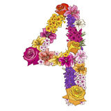 Four digit made of different flowers. Floral element of colorful alphabet made from flowers. Vector illustration. Four digit made of different flowers. Floral Royalty Free Stock Photos