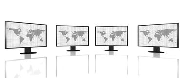 Four digital hd monitor screens Stock Photos