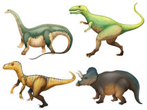 Four dinosaurs. Illustration of the four dinosaurs on a white background Royalty Free Stock Photography