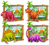 Four dinosaurs in wooden frame Royalty Free Stock Photo
