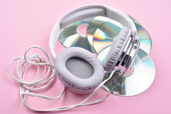 Four Disc with Headphones royalty free stock photography