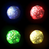 Four disco ball. Glowing disco ball for gala events Royalty Free Stock Photo