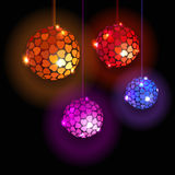 Four Disco Balls With Hearts. Royalty Free Stock Photo
