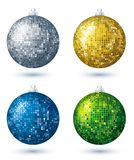 Four  disco balls, vector. Four christmas disco  ball over white background, vector Stock Images