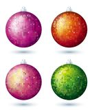 Four  disco balls, vector. Four christmas disco  ball over white background, vector Stock Photos
