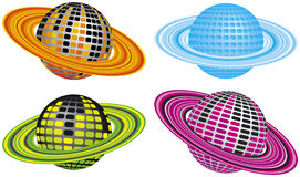 Four Disco Planets. Four Different Colored Disco Planets Stock Image