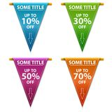 Super sale banner taped -50%, -70%, -10%, -30% discount. Four discount banner for a web site. Super sale banner taped -50%, -70%, -10%, -30% discount Royalty Free Stock Image