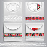 Four discs pack templates with Ukrainian folk black-red pattern Royalty Free Stock Photo