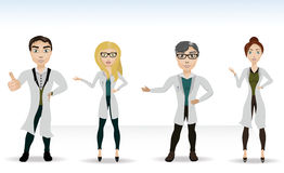 Four doctors in lab coats. Vector illustration of four doctors in the news growth Royalty Free Stock Photo