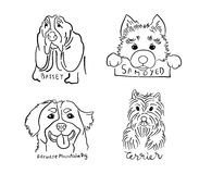 Four Dog Breeds Logo Set Stock Images