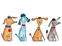 Four Dogs. Artwork, ink and watercolors on paper Royalty Free Stock Images