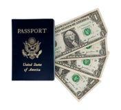 Four dollars and a passport. Four $1 USD bills under passport stock photos