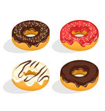 Four donuts with glazed isolated on white Royalty Free Stock Image