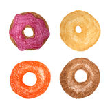 Four donuts isolated on white. Colored Pencils Drawing. Doughnut sketch. Royalty Free Stock Image