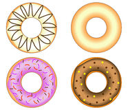 Four Doughnuts with colorful glazing. And candies Stock Image