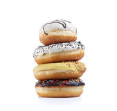 Four doughnuts  on white Stock Photography