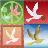 Four Doves. Doves flying in four different styles - Retro peace sign, holiday, feminine and natural Stock Images
