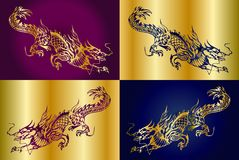 Four chinese dragons. Four dragons on a different background, in a square as the coat of arms or an emblem vector illustration