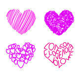 Four Drawing Hearts Royalty Free Stock Photography