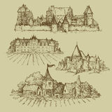 Four drawings of castles Stock Photo