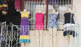 Four Dresses on Balcony Royalty Free Stock Photography