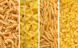 Four Dried Pastas Stock Image