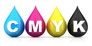 Four drop of Paint CMYK on white background. 3d illustration stock illustration