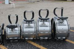 Four drums waiting for drummers Stock Photos