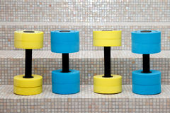 Four dumbbells for water aerobics Royalty Free Stock Photos