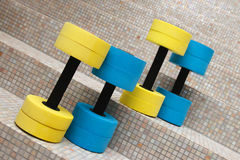 Four dumbbells for water aerobics Royalty Free Stock Images