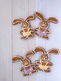 Four Easter Bunny cookies Stock Photo