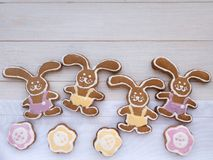 Four Easter Bunny and flower shaped cookies Royalty Free Stock Image