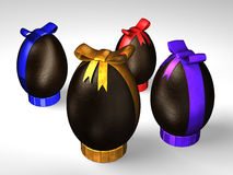 Four Easter chocolate eggs. It's four easter chocolate eggs with colored ribbon on a white floor vector illustration