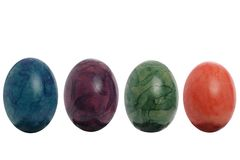Four easter eggs isolated Stock Images
