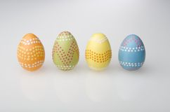 Four Easter eggs in a row Stock Photo