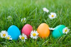 Four Easter eggs. In a row ia a grass Royalty Free Stock Photo