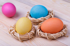 Four Easter eggs in small nests Royalty Free Stock Photo