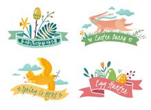 Four Easter emblems with the image of a rabbit stock illustration