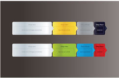Four easy steps. Modern vector labels with space for text and ic Royalty Free Stock Photos