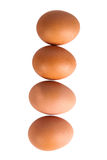 Four eggs isolated on white background. Shallow depth of field Royalty Free Stock Image