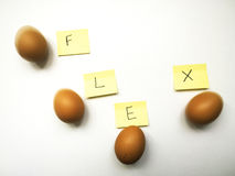 Four eggs in a row flex and movement sequence Stock Photos
