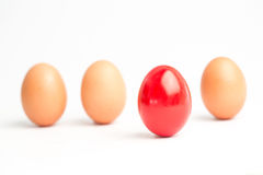 Four eggs in a row with one red one standing out Stock Photos