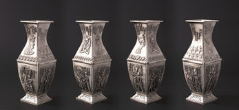 Four egyptian vases. Isolated on black background Stock Images