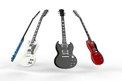 Four electric guitars all different colors Royalty Free Stock Images