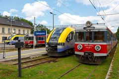 Four electric traction units stopped in Zakopane royalty free stock photo