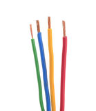 Four electrical wire or cable stripped isolated Royalty Free Stock Photography