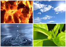 The four elements. A composition of four shots representing the four elementes: air, water, ground and fire Royalty Free Stock Photo